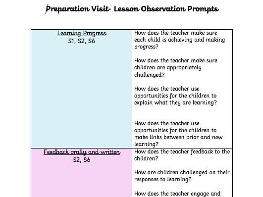 PGCE Lesson Observation Sheet