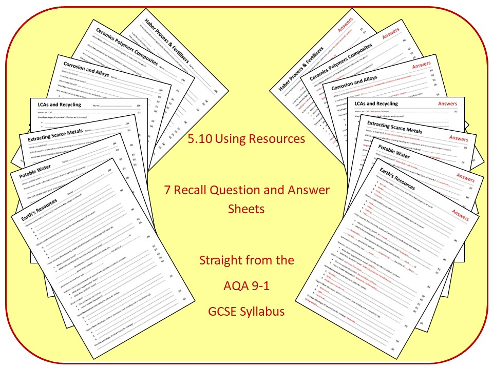 Topic 10: Using Resources Revision Questions and Answer Sheets (inc Triple)