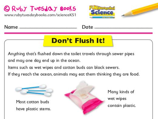 Let's Investigate Plastic Pollution: Don't flush it!