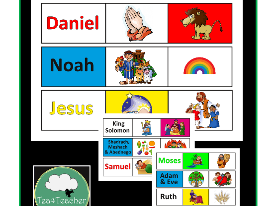 Bible Character Matching Game - Teach Kids Christian Bible Stories Fun Game Preschool Kindy