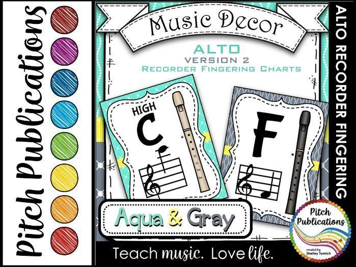 Alto Recorder Fingering Chart Posters v2 Black/Tan- Music Decor Aqua Gray