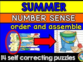 SUMMER MATH CENTER (SUMMER KINDERGARTEN NUMBER SENSE PUZZLES) NUMBERS 1-10