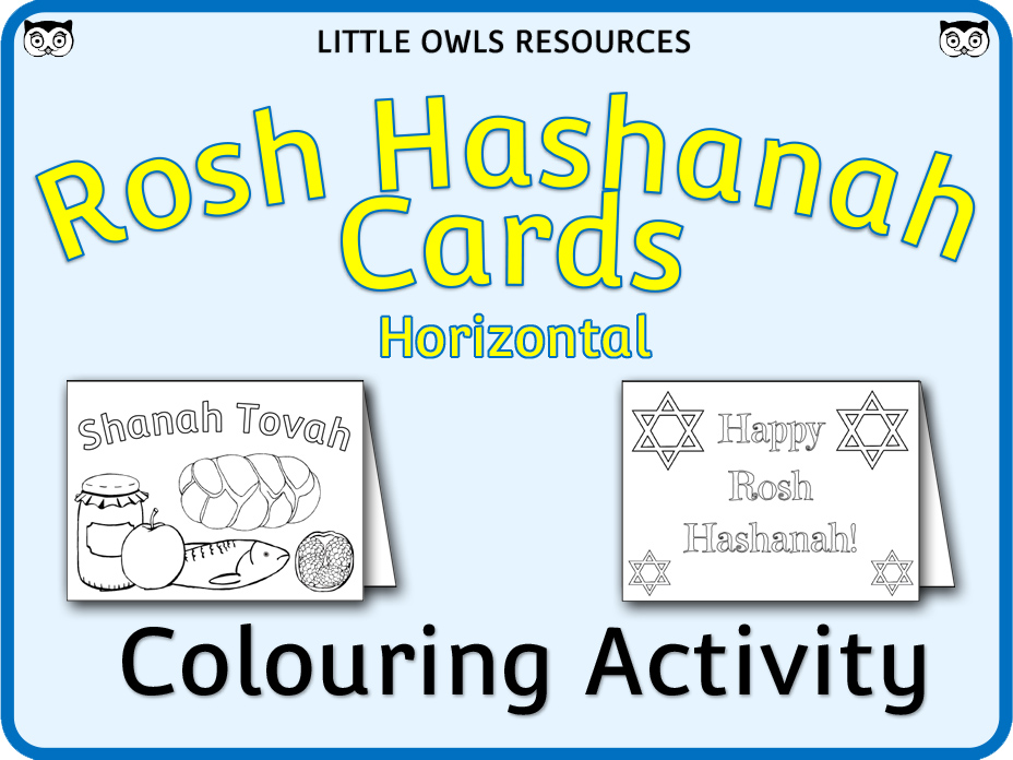 Rosh Hashanah Card Templates - Colouring Activity (horizontal cards)