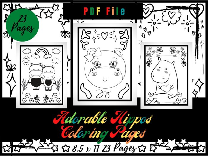 Adorable Hippos Coloring Pages For kids, Hippo Animal Coloring Sheets PDF