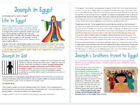 Genesis: Joseph in Egypt: Differentiated Information and Activity Sheets