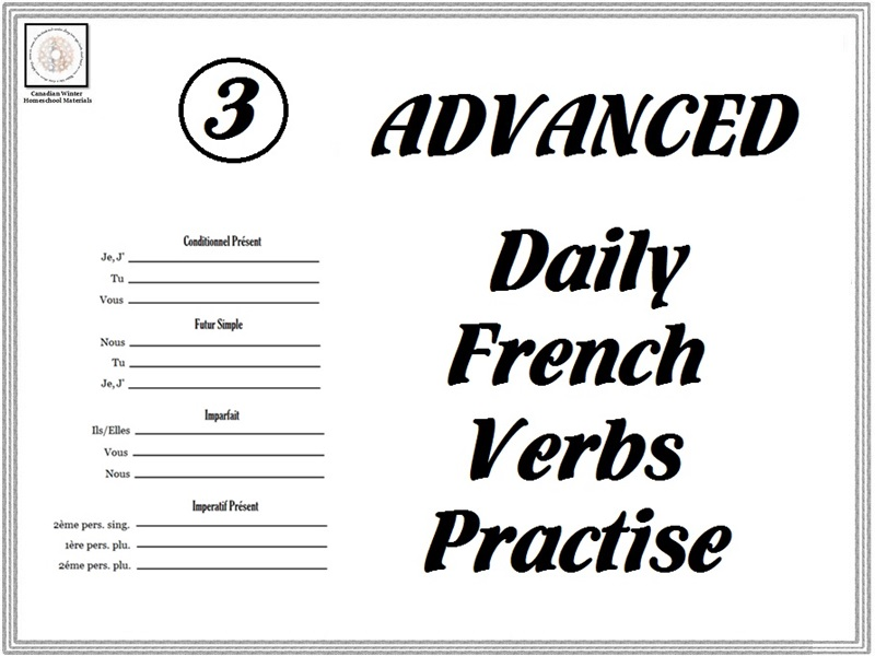 Advanced Daily French Verbs Practise Sheets