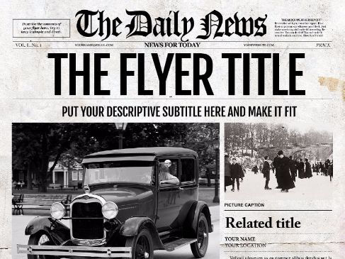 1 Page Ledger Size Newspaper Template for Adobe Photoshop