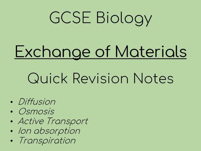 GCSE Biology Exchange of Materials REVISION notes