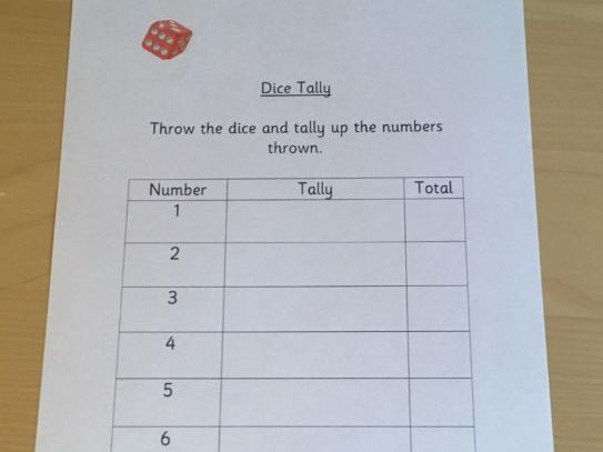 Dice Tally Sheet Probability Data Handling Bar Charts