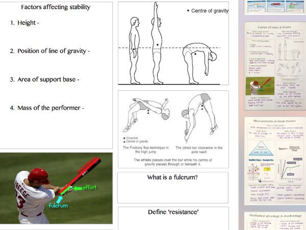 New Alevel physical education - biomechanics - handwritten summary sheets complete