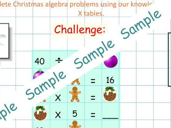 Christmas algebra puzzles -multiplication and division Year 2 problems - Greater Depth