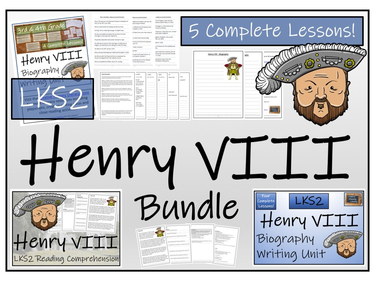LKS2 History - Henry VIII Reading Comprehension & Biography Bundle