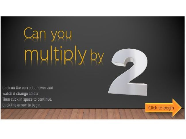 Short quiz to test multiplication by 2
