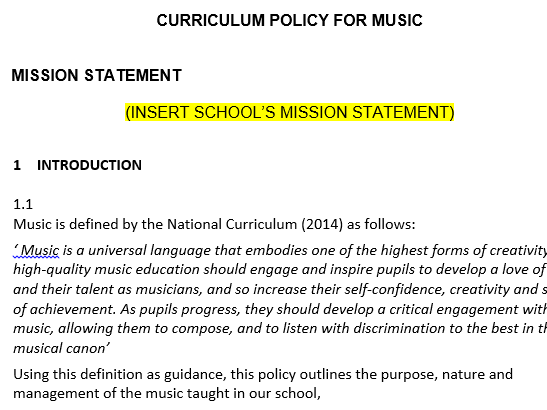 Editable Music Curriculum Policy