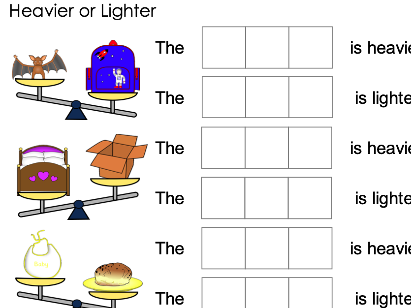 Mass and Weight and CVC words Heavier or Lighter Balance scale Distance Learning
