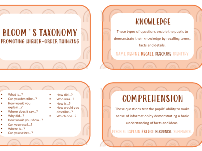 Bloom's Taxonomy questioning guide