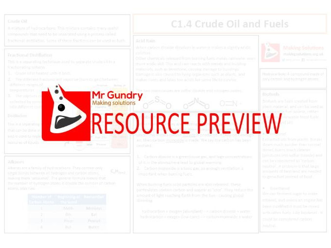 AQA C1.4 Crude oil and Fuels Revision Sheet