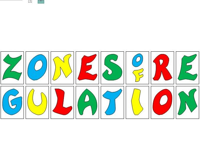 Zones of Regulation display lettering