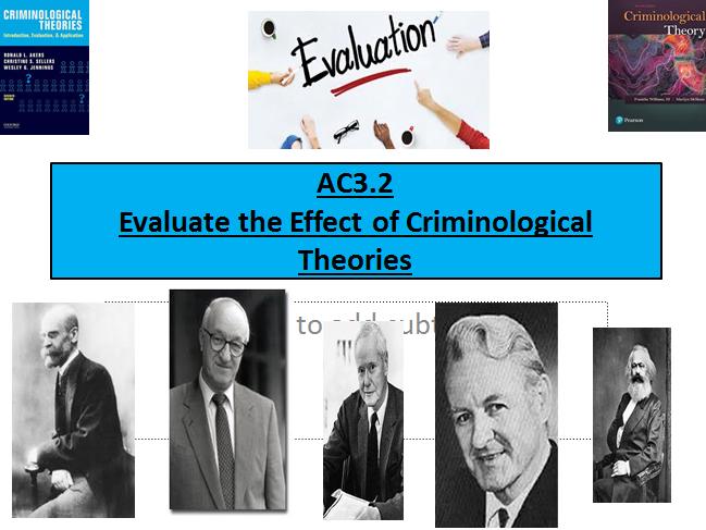 Criminology (NEW SPEC)Unit 2 EXAM UNIT- Criminological Theories-AC3.2 Evaluation- Lesson Power Point