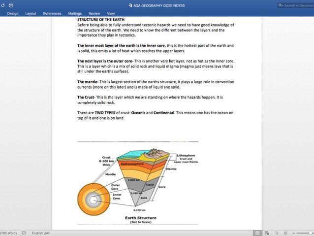 TECTONICS NOTES-AQA GEOGRAPHY GCSE