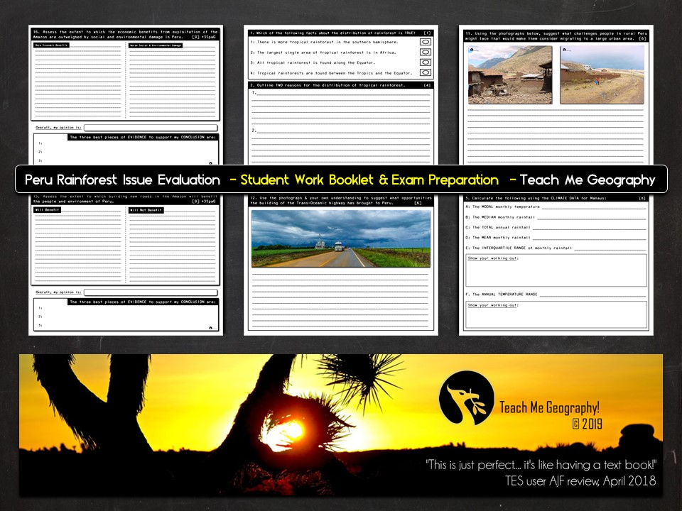 Peru Rainforest Issue Evaluation Student Work Booklet & Exam Preparation  - Teach Me Geography