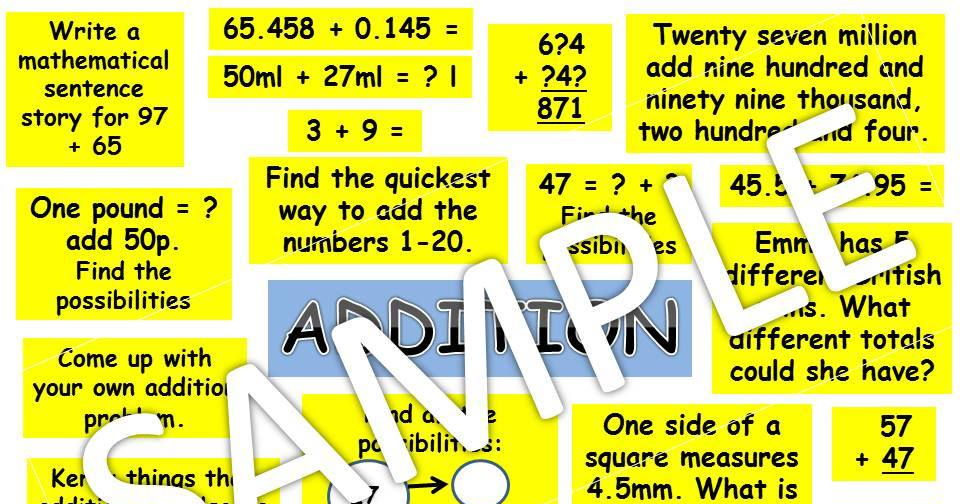 KS2 conceptual variation for all 4 operations maths mastery