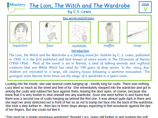 The Lion, the Witch and the Wardrobe by C.S. Lewis Comprehension KS2