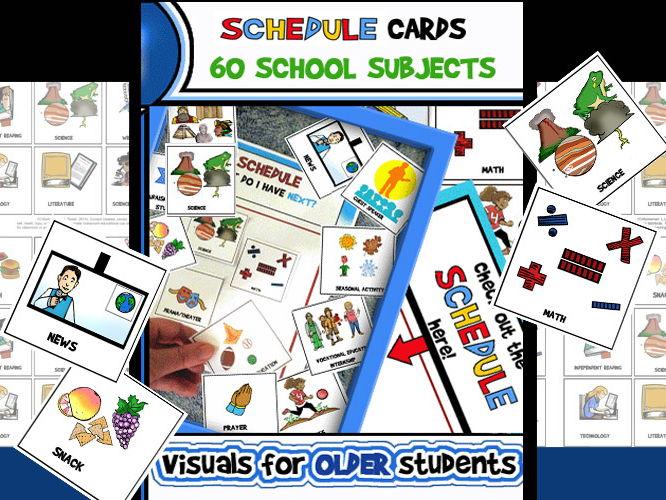 Schedule/Class Subject Cards (Upper Elementary/Middle School) 5 Pages/60 Cards! Schedule/Class Subje