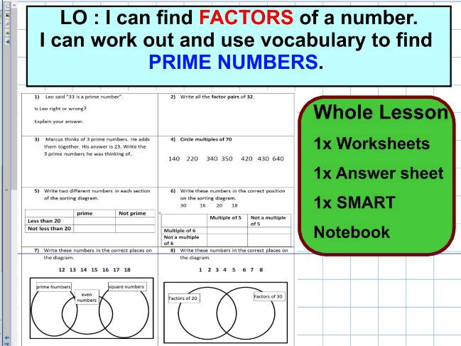 Prime numbers and Factors - composite  numbers - ks2 year 5 & 6 - WHOLE LESSON