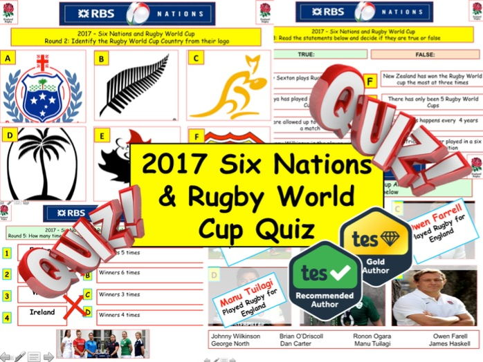 2017 - Rugby Quiz (World Cup & Six Nations) - 7 sports rounds & over 40+ Questions. End of term Qui