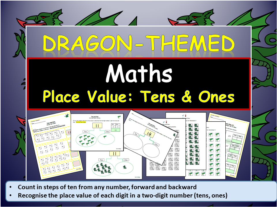 Dragon-Themed: Place Value/Partition Worksheets/Cut and Paste - Tens & Ones