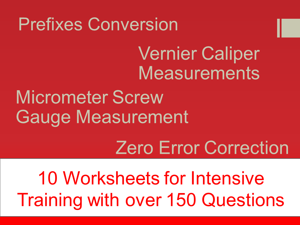 Vernier Caliper Micrometer Screw Gauge and Zero Error Correction – Micrometer Worksheet