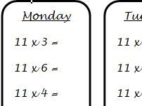Times Tables - One minute a day multiplciation facts homework