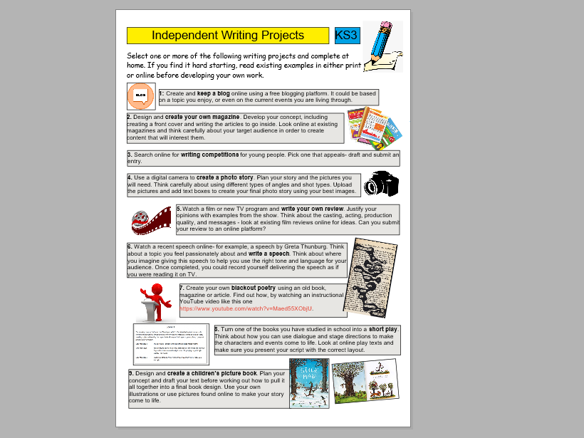 KS3 Independent Writing Projects