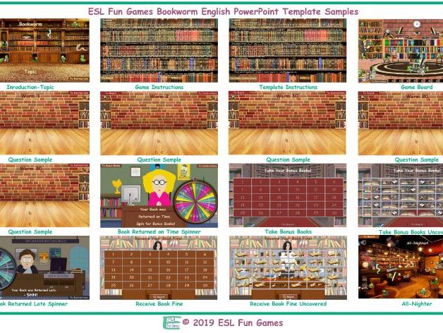 Bookworm English PowerPoint Game Template READ ONLY SHOW
