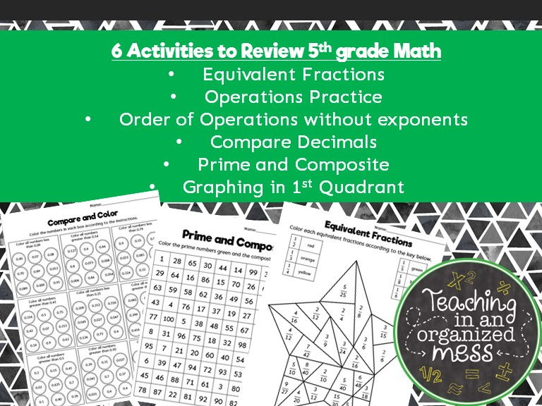 5th Grade End of Year Review Middle School Math