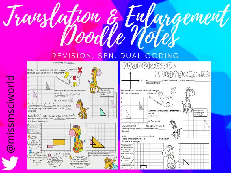 Translation & Enlargement Maths Doodle Note