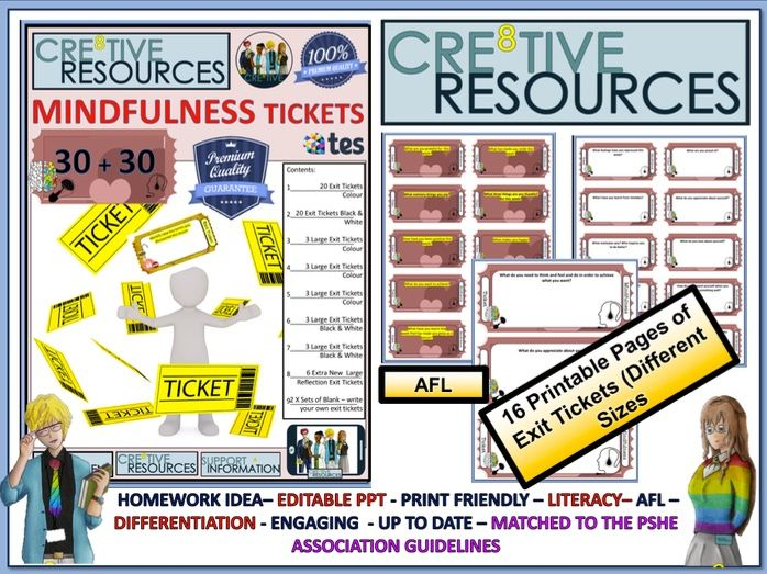 Mindfulness Reflection Tickets by thecre8tiveresources | Teaching Resources