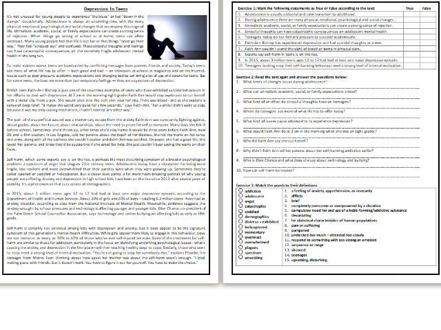 Depression In Teens Reading Prehension Worksheet