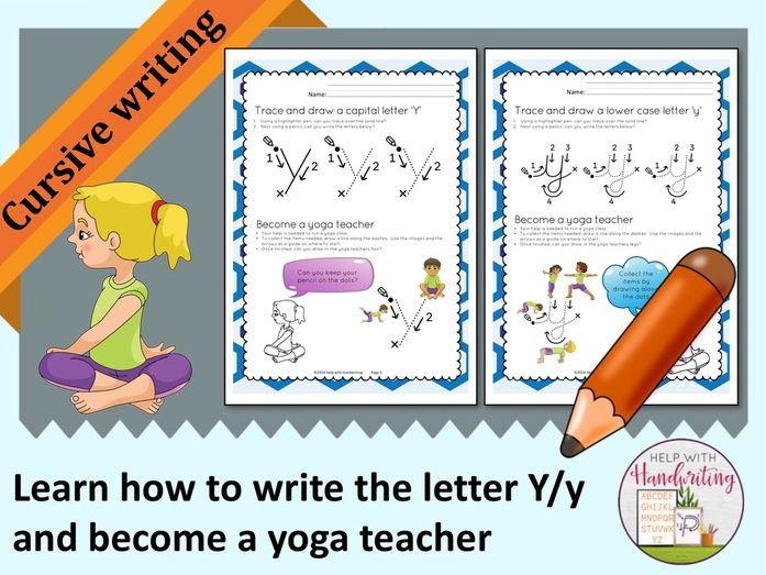 Learn how to write the letter Y (Cursive style) and become a yoga teacher