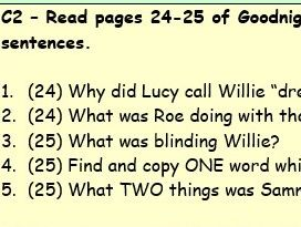 Year 5/6 Goodnight Mr Tom ch.2 reading comprehension pages 24-25