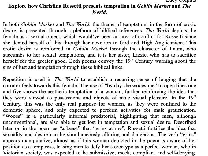 """A Grade Essay - Temptation in Christina Rossetti's """"The World"""" and """"Goblin Market"""""""