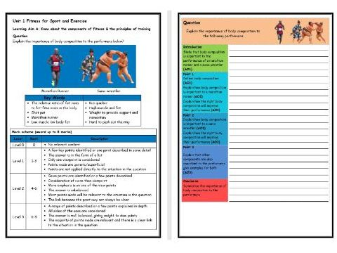 BTEC Sport (Level 2)- Unit 1 – Components of Fitness 4 Structure Strip (Long Answer Question)