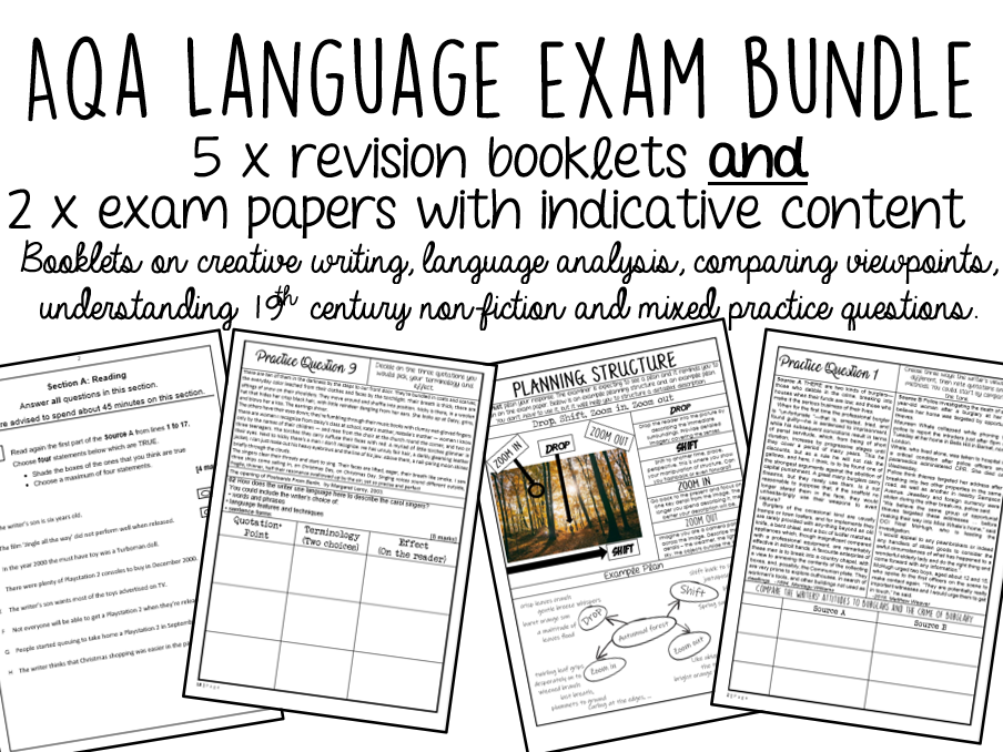 GCSE English Language Bundle - 5 Booklets + 2 Exam Papers