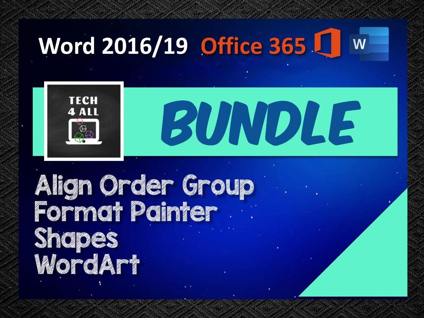 Bundle - Align Order Group, Format Painter, Shapes, WordArt