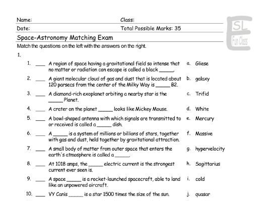 Space-Astronomy Matching Exam