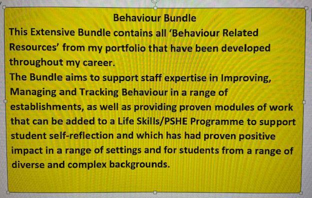 Improving, Tracking and Monitoring Behaviour Bundle for all Staff