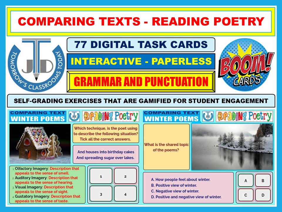 COMPARING TEXTS - READING WINTER POETRY: 77 BOOM CARDS