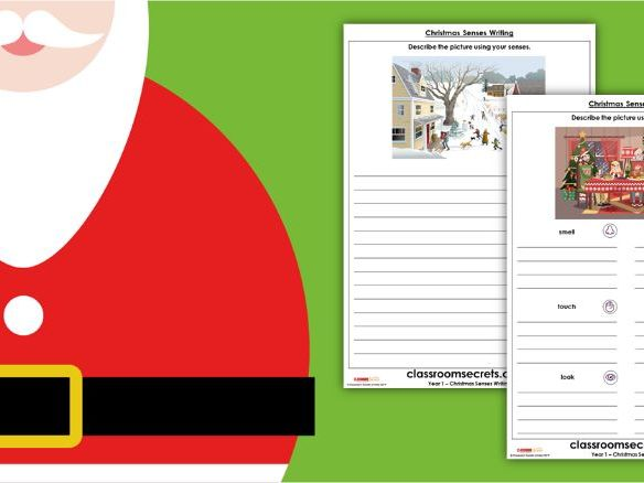 Christmas Year 1 Senses Writing Activity
