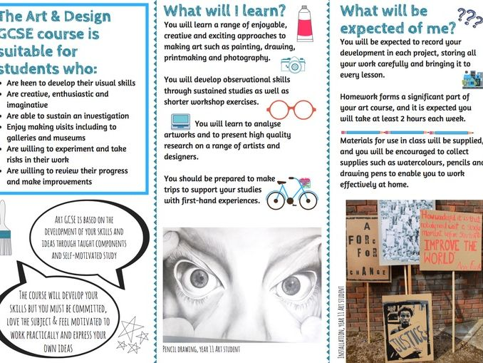 Art GCSE options leaflet for students